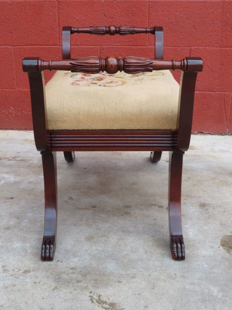Roll over Large image to magnify, click Large image to zoom - American Antique Vanity Bench Stool Needlepoint Antique Furniture
