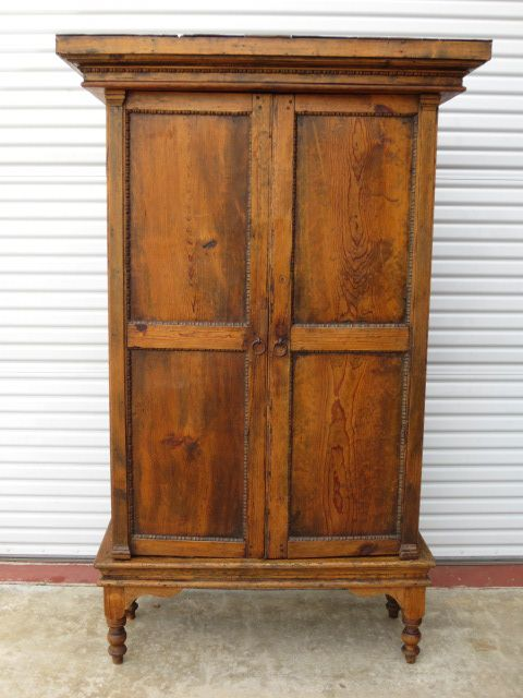 Primitive Pine Antique Rustic Armoire Cabinet Antique