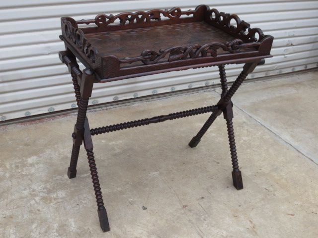 French Antique Butlers Tray With Folding Stand Antique Serving Table