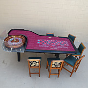 Authentic Red Rock Casino Roulette Table Roulette Wheel and Chairs