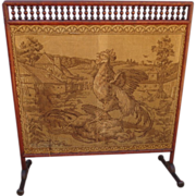 French Antique Fireplace Screen Antique Tapestry Antique Screen