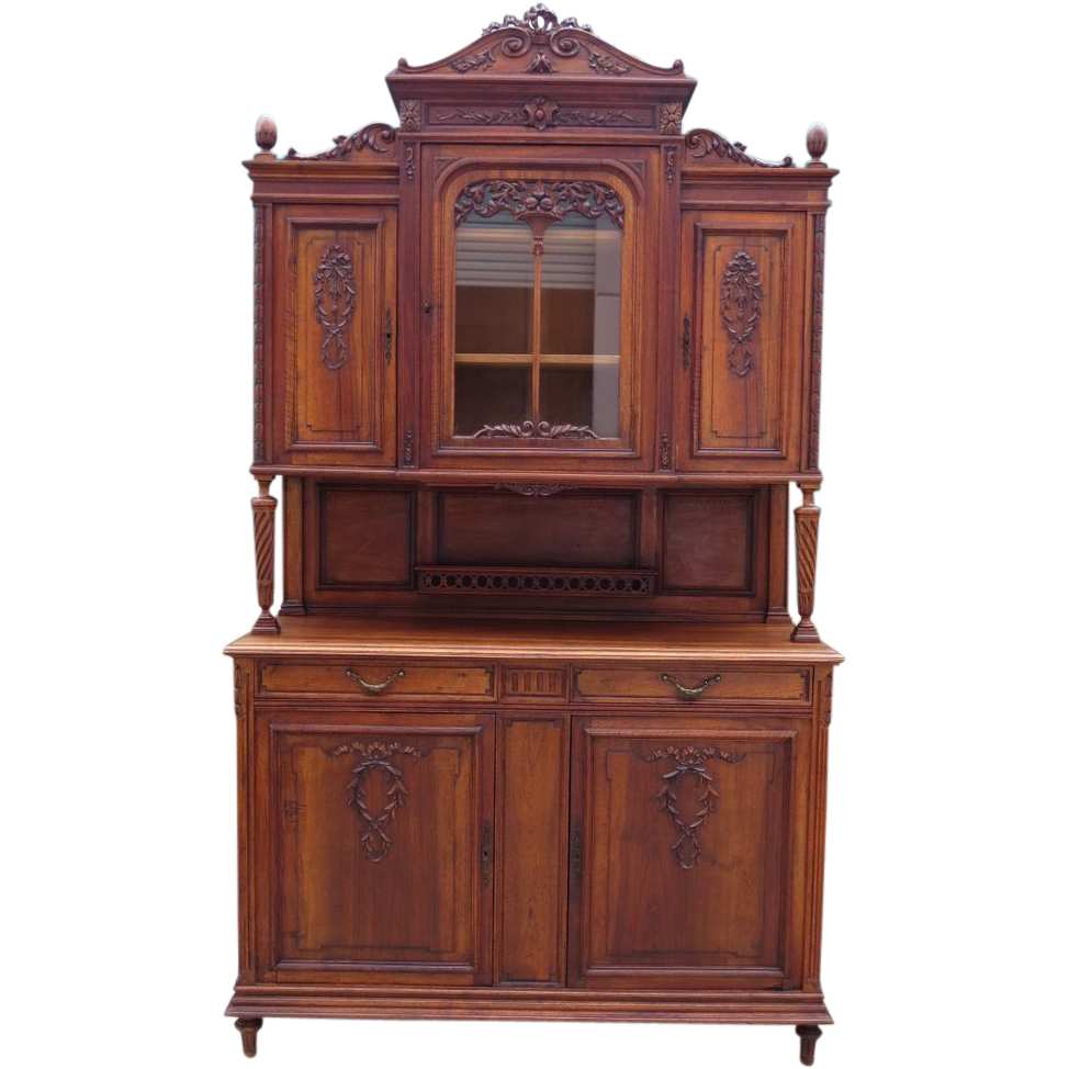 french antique hutch antique walnut buffet antique furniture sold on ruby lane. Black Bedroom Furniture Sets. Home Design Ideas