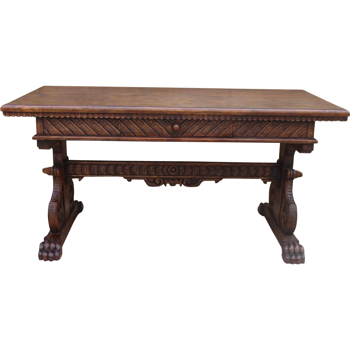 Spanish Antique Hand Carved Desk Antique Table Antique Furniture - Spanish Antique Hand Carved Desk Antique Table Antique Furniture