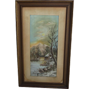 Antique Framed Pastel Painting Antique Framed Art