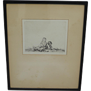 Antique Framed Etching Signed Antique Framed Picture