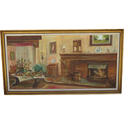 Oil On Canvas Large Antique Oil Painting