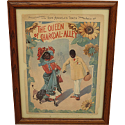 "Original Antique Framed Sheet Music ""The Queen of Charcoal Alley"" Black Americana"