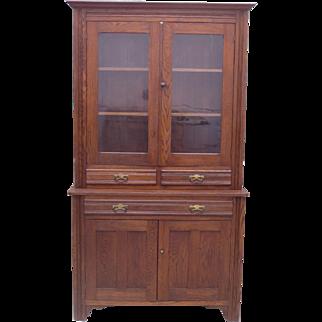 American Antique Step Back Hutch Antique Display Cabinet Antique Furniture