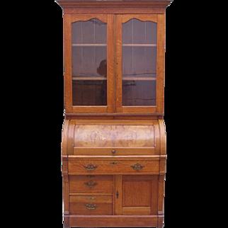 American Antique Barrel Desk Antique Bookcase Antique Desk Antique Furniture
