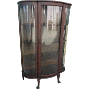 American Antique Bow Front China Cabinet Antique Display Cabinet Antique Furniture