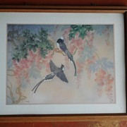 Framed Bird Print Signed