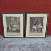Pair of French Antique Etchings Pair of French Prints Antique Art