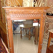 Beautiful Antique Hand Carved French Wall Mirror Beveled Glass Lions
