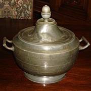 Large German Antique Pewter Pot With Lid