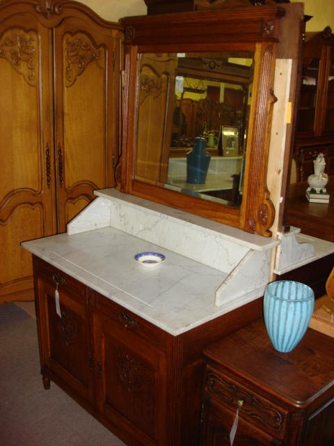 Beautiful Antique French Marble Top Washstand Dresser With Beveled Mirror