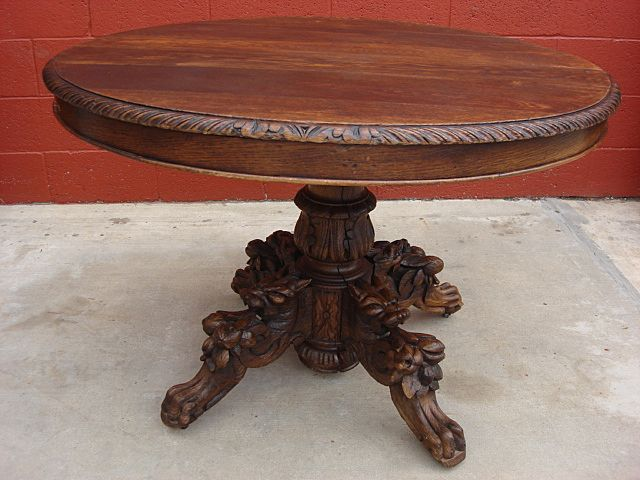 Antique Furniture French Antique Hand Carved Round Table Hunters Table