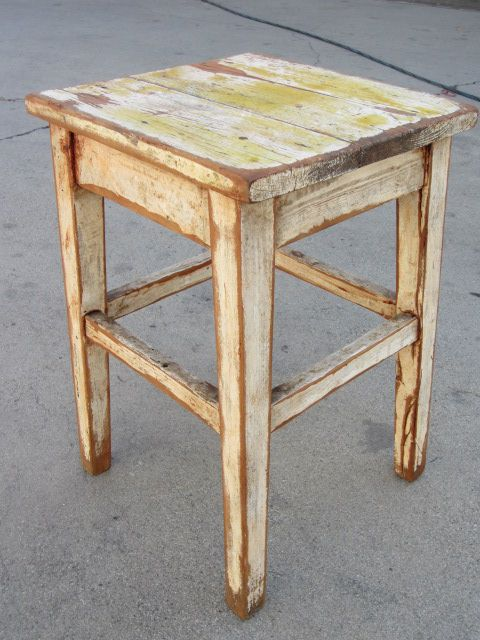 French Antique primitive Farm Stool Antique Bench Chair Antique Furniture