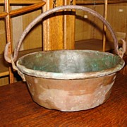 Hand Forged Original Antique French Copper Pot Kettle