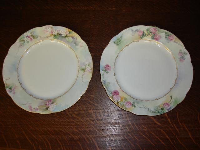 Pair of Decorative ART NOUVEAU C.T. Carl Tielsch GERMAN Porcelain Victorian Plates with Flowers Signed Halbert 1908