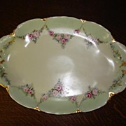 Antique French Limoges Large Roses Serving Tray Floral Art Platter Haviland