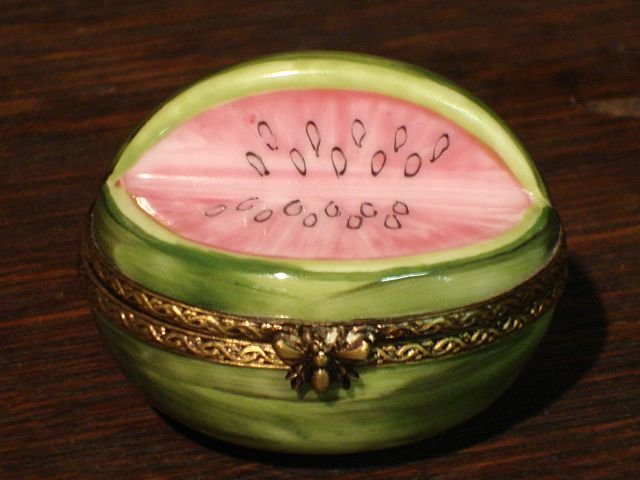 Original hand painted Pill Box Limoges France Watermelon Snuff Box Dresser Box