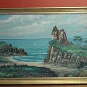 Original California Art J. Miles Oil on Board Monterey California Coast Beach Ocean Coast Theme