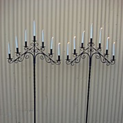 Pair of Large French Antique Hand Forged Iron Candelabras Antique Candle Stick Candelabra