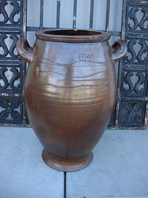 French Antique Large Salt Glaze Pot Planter Vase Original Stoneware