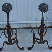 Pair of Antique hand Forged Iron Andirons
