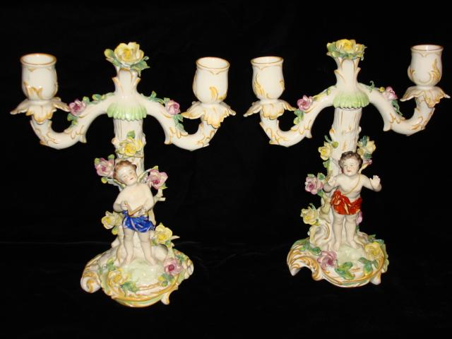 Beautiful Pair of Dresden Candle Holders Candelabra Porcelain Figural Cherub