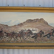 Early American Oil On Canvas Cowboy and Native American Indian American West