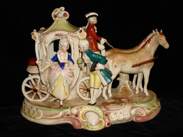 Beautiful Original German Porcelain Hand Molded and Hand Painted Large Figurine Victorian Horse and Carriage