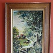 "Original Oil on Canvas Robert Reuben Clark Wood (W.Wood) Dated 1913 ""The Meadow Path"""