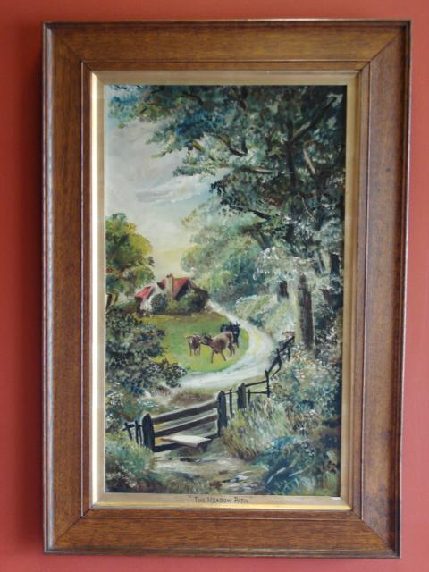 "Original Oil on Canvas Robert Reuben Clark Wood (W.Wood) Dated 1913 ""The Meadow Path"""