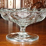 Beautiful Hand Cut Crystal Compote Candy Dish Flower Cut