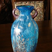 Beautiful Turquoise and Gold Glass Vase Art Glass