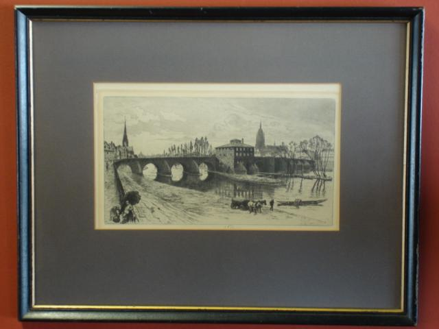 Antique Farmed and Signed Etching