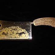 Vintage Large Rostfrei Sloingen Cleaver Antler Stag Horn Handle