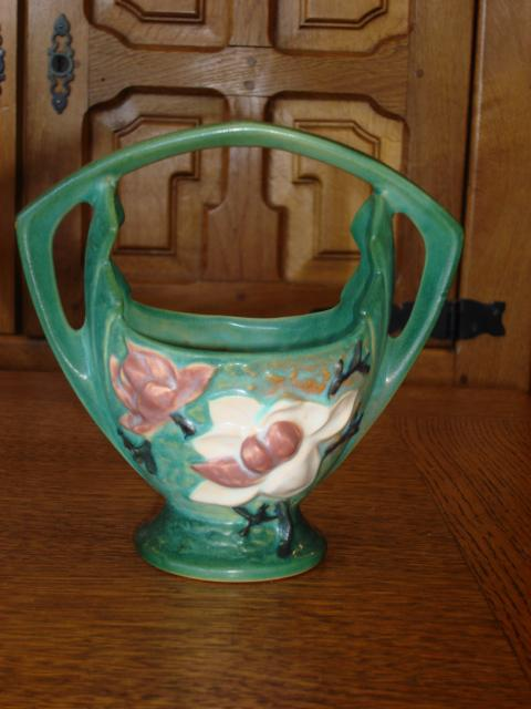 Original Roseville Pottery Vase With Handel 383-7