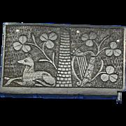 Bog oak match safe, clover, lyre and Irish symbols, book-shaped, c. 1895