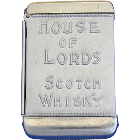 House of Lords Scotch Whisky advertising match safe; J. G. Gowie & Co. Glasgow