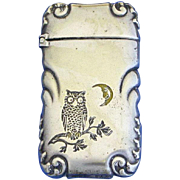 Owl on tree branch, crescent moon, match safe, G. Silver, c. 1895