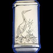 Standing crane motif match safe, silver plated, c. 1895