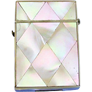 Mother-of-pearl, diamond design match safe, c. 1900