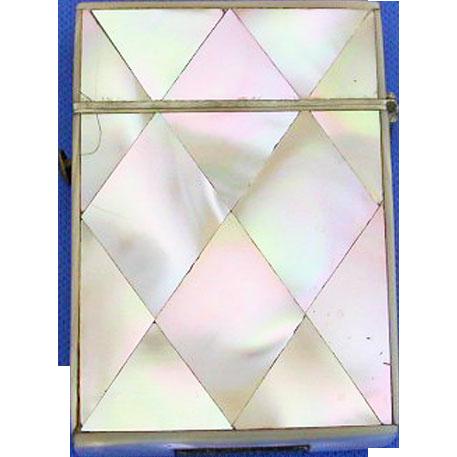 Mother-of-pearl, diamond design match safe, c. 1900