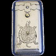 Turtle motif match safe, push button spring lid release, c. 1892