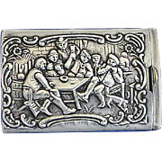 Dutch tavern scene, slide type match safe, 830 silver