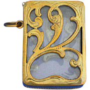 Unusual brass match safe with glass side panels, c. 1900