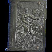 Bicycle motif match safe, book shaped, vulcanite