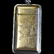Cat motif match safe, nickel plated brass, c. 1890, falling lids type